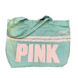 Pink Mint Green Tote with 2 outside pockets